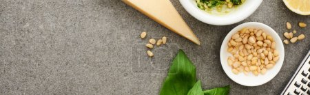 Photo for Top view of pesto sauce raw ingredients, grater on grey surface, panoramic shot - Royalty Free Image