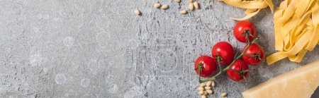 Photo pour Top view of raw Pappardelle near tomatoes, pine nuts, Parmesan on grey surface, panoramic shot - image libre de droit