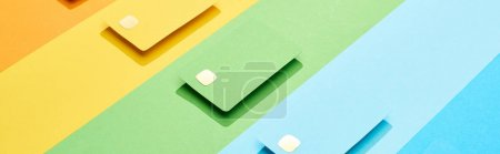 Photo for Multicolored empty credit cards on rainbow background, panoramic shot - Royalty Free Image