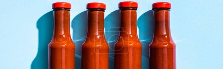 Top view of bottles with tomato sauce on blue background, panoramic shot