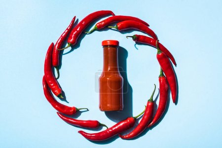 Photo for Top view of round frame of chili peppers around bottle with tasty chili sauce on blue background - Royalty Free Image