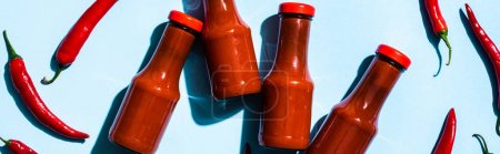 Photo for Top view of bottles with chili sauce beside chili peppers on blue surface, panoramic shot - Royalty Free Image