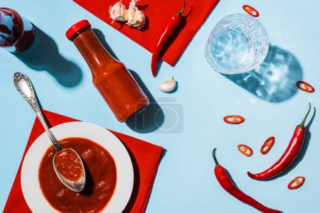 Photo for Top view of tasty tomato sauce with garlic and chili pepper beside glass of water on blue surface - Royalty Free Image