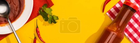 Foto de Top view of homemade ketchup with chili peppers and cilantro on yellow background, panoramic shot - Imagen libre de derechos