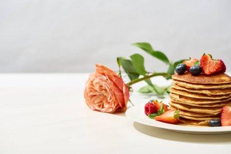 Photo pour Foyer sélectif de délicieuses crêpes aux bleuets et fraises sur assiette près de rose sur surface blanche isolée sur gris - image libre de droit
