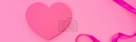 Photo for Top view of empty paper heart with ribbon isolated on pink, panoramic shot - Royalty Free Image