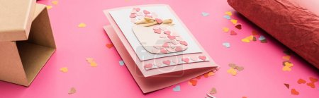 Photo for Valentines confetti, greeting card, wrapping paper, gift box on pink background, panoramic shot - Royalty Free Image