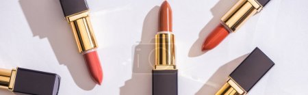 Photo pour Top view of brown assorted lipsticks in luxury tubes on white background, panoramic shot - image libre de droit