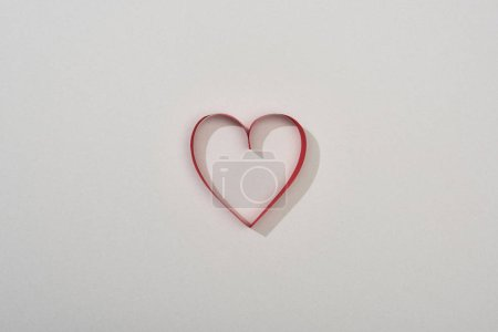 Photo for Top view of red paper heart on grey background with copy space - Royalty Free Image