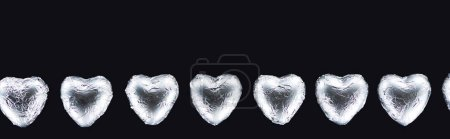 Photo for Top view of heart shaped candies isolated on black with copy space, panoramic shot - Royalty Free Image