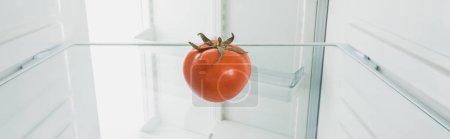Photo pour Tournure panoramique de tomate mûre au réfrigérateur avec porte ouverte isolée sur blanc - image libre de droit
