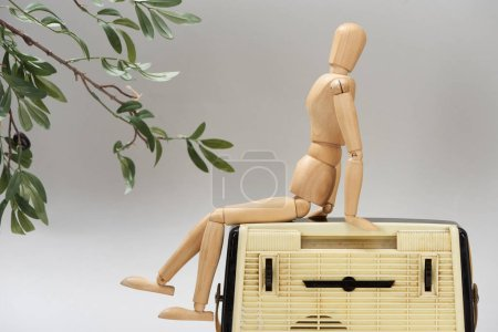 Photo for Wooden doll on vintage radio beside plant isolated on grey - Royalty Free Image