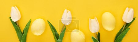 top view of tulips and painted Easter eggs on colorful yellow background, panoramic shot