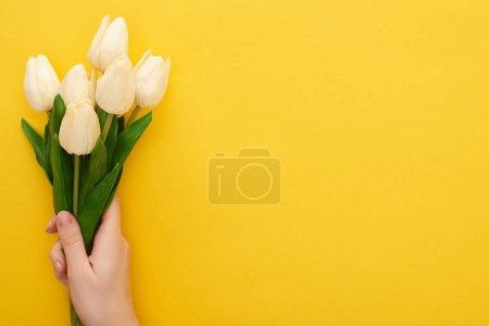 Photo pour Vue recadrée de la femme tenant des tulipes de printemps sur fond jaune coloré - image libre de droit