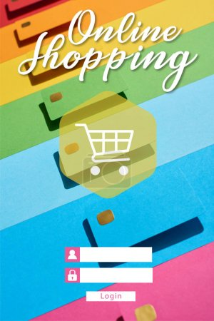 multicolored empty credit cards on rainbow background with online shopping illustration