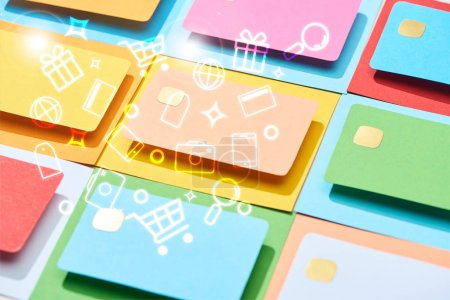 Photo for Multicolored empty credit cards on colorful background with icons illustration - Royalty Free Image