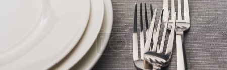 Panoramic shot of forks beside empty plates on grey surface
