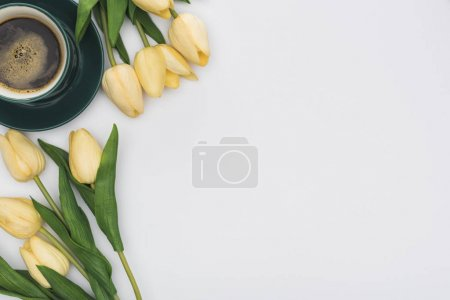 Photo for Top view of tulips and fresh coffee isolated on white with copy space - Royalty Free Image