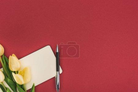 Photo pour Vue du dessus des tulipes et cahier vide avec stylo isolé sur rouge - image libre de droit