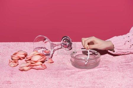 Photo pour Vue en coupe d'une femme mettant sa cigarette près du verre avec des pétales éparpillés sur un tissu en velours isolé sur un concept rose et giré - image libre de droit