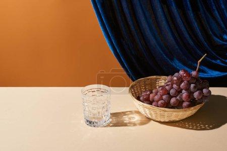 klasyczna martwa natura z winogronami, szkło na beżowym stole w pobliżu welurowej zasłony odizolowanej na pomarańczowo