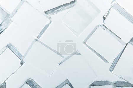 Photo for Top view of transparent clear square ice cubes on mirror - Royalty Free Image