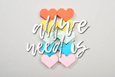 Photo pour Vue du dessus des coeurs en papier coloré sur fond gris avec tout ce dont nous avons besoin est lettrage - image libre de droit