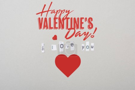 Photo pour I love you lettering with paper heart and happy valentines day illustration isolated on grey - image libre de droit