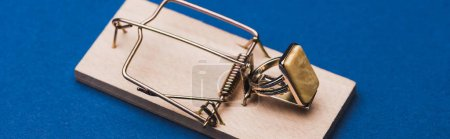 Photo pour Photo panoramique d'un anneau de bijoux dans un piège à souris sur fond bleu - image libre de droit