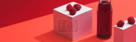 Photo for Fresh berry juice in glass bottle near ripe raspberries on cubes on red background, panoramic shot - Royalty Free Image