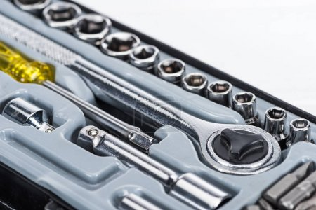 Photo for Close up view of toolbox with wrench and screwdriver isolated on white - Royalty Free Image