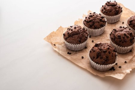 Photo for Fresh chocolate muffins on parchment paper - Royalty Free Image