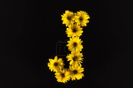 Photo for Top view of yellow daisies arranged in letter J isolated on black - Royalty Free Image