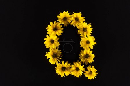 Photo for Top view of yellow daisies arranged in letter Q isolated on black - Royalty Free Image