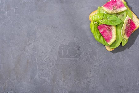 Toast mit grünen Erbsen, Basilikum und Rettich auf Steintisch