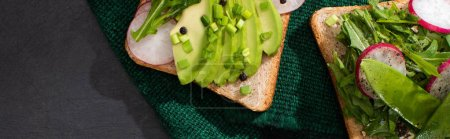 Photo for Panoramic shot of vegetarian sandwiches with fresh radish and avocado on green cloth - Royalty Free Image
