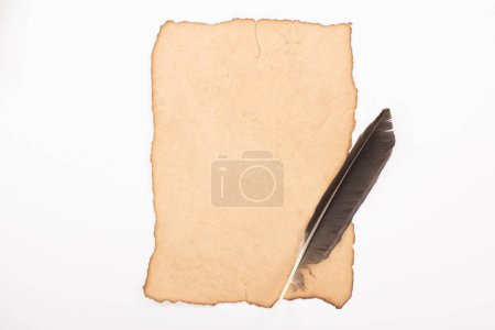 Photo for Top view of vintage aged paper with feather isolated on white - Royalty Free Image