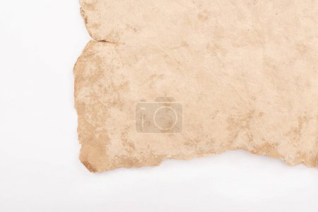 Photo for Top view of vintage blank aged paper isolated on white - Royalty Free Image