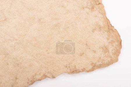 Foto de Vista superior del papel antiguo blanco aislado sobre blanco - Imagen libre de derechos