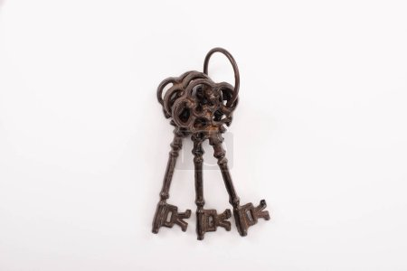 Photo for Top view of vintage rusty keys isolated on white - Royalty Free Image
