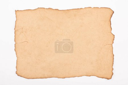 Photo for Top view of vintage empty paper isolated on white - Royalty Free Image