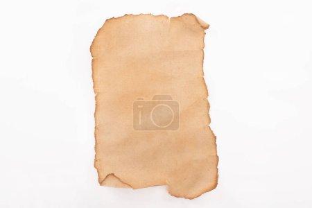 Photo pour Vue du dessus du papier blanc vintage isolé sur blanc - image libre de droit