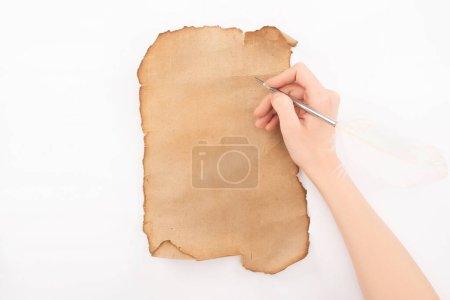 Foto de Visión aproximada de la mujer que escribe con codorniz sobre papel antiguo aislado sobre blanco - Imagen libre de derechos