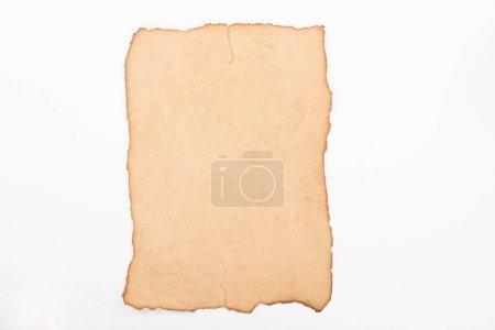 Photo pour Vue du haut du papier parchemin vierge isolé sur blanc - image libre de droit