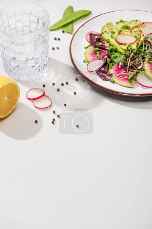 Photo pour Salade fraîche de radis avec des légumes verts et avocat sur une assiette à surface blanche avec de l'eau, citron - image libre de droit