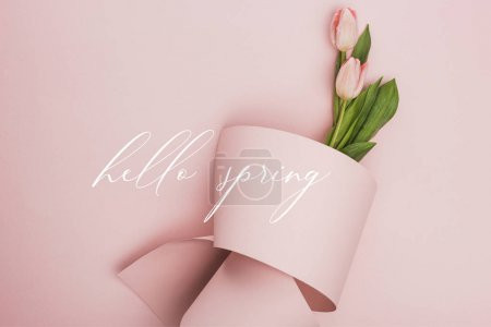 Photo pour Top view of tulips wrapped in paper on pink background, hello spring illustration - image libre de droit