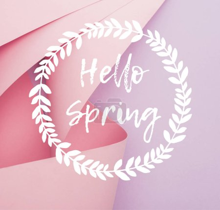 Photo for Top view of pink paper swirls on violet background, hello spring illustration - Royalty Free Image