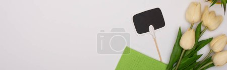 Photo for Top view of spring tulips and green rag near blank card on white background, panoramic shot - Royalty Free Image