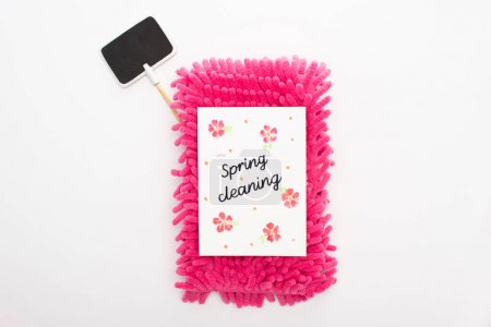 Photo for Top view of pink sponge and spring cleaning card near blank sign on white background - Royalty Free Image