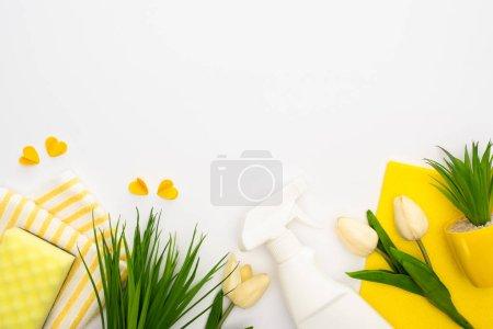 vue de dessus des tulipes printanières et des plantes vertes près des fournitures de nettoyage jaunes et des coeurs sur fond blanc